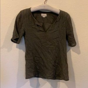 Madewell green short sleeve cotton textured top